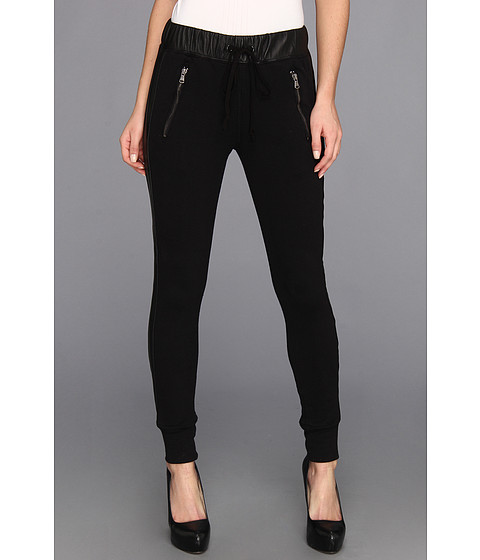 Hudson - Katie Sweatpant w/ Leather Sides (Black) Women