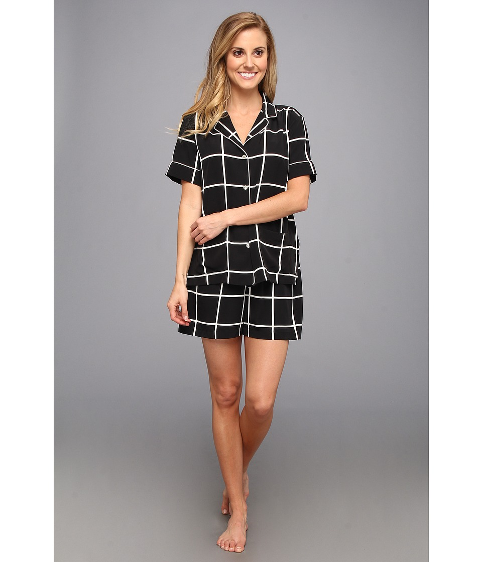 Natori - Windowpane S/S PJ w/ Shorts (Black) Women's Pajama Sets