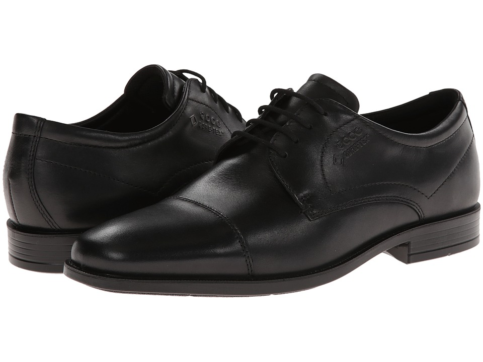 ECCO - Edinburgh Cap Toe Tie GTX (Black Luxe) Men