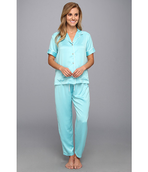 Natori - Charmeuse Essentials S/S PJ (Icy Blue) Women's Pajama Sets