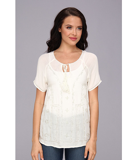 LAmade - S/S Peasant Embellished Blouse (Off White) Women's Blouse