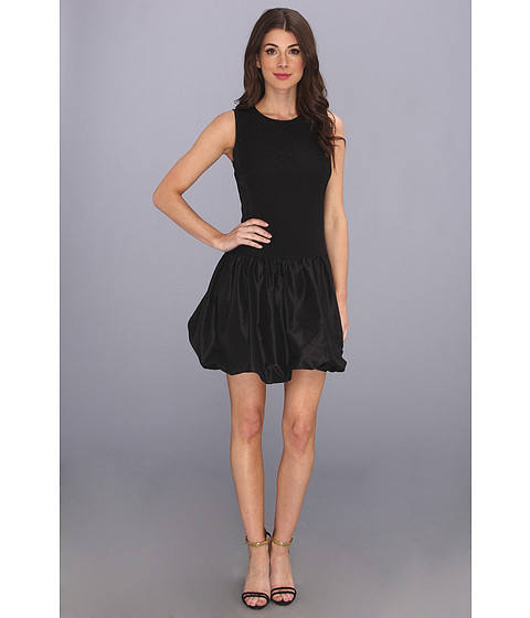Rebecca Taylor - Sleeveless Cloque Taffeta Dress (Black) Women's Dress