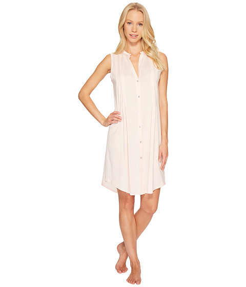 Hanro - Cotton Deluxe Button Front Tank Nightgown (Tender Rose) Women