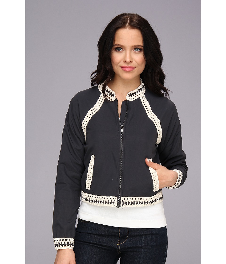 Free People - Crochet Inset Baseball Jacket (Washed Black) Women