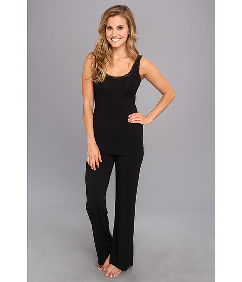 Natori - Feathers Tank PJ (Black) Women's Pajama Sets