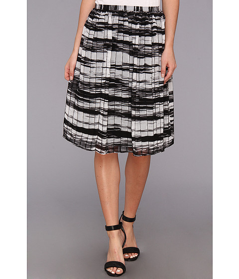 Calvin Klein - Printed Pinktuck Polyester Chiffon Skirt (Black/White) Women's Skirt
