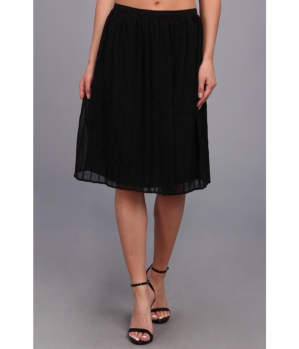 Calvin Klein - Pintuck Short Polyester Chiffon Skirt (Black) Women