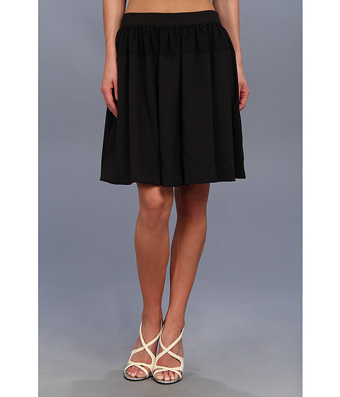 Calvin Klein - Chiffon Detail Pleated Circle Skirt (Black) Women's Skirt