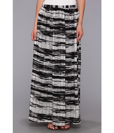 Calvin Klein - Printed Pinktuck Polyester Chiffon Maxi Skirt (Black/White) Women's Skirt