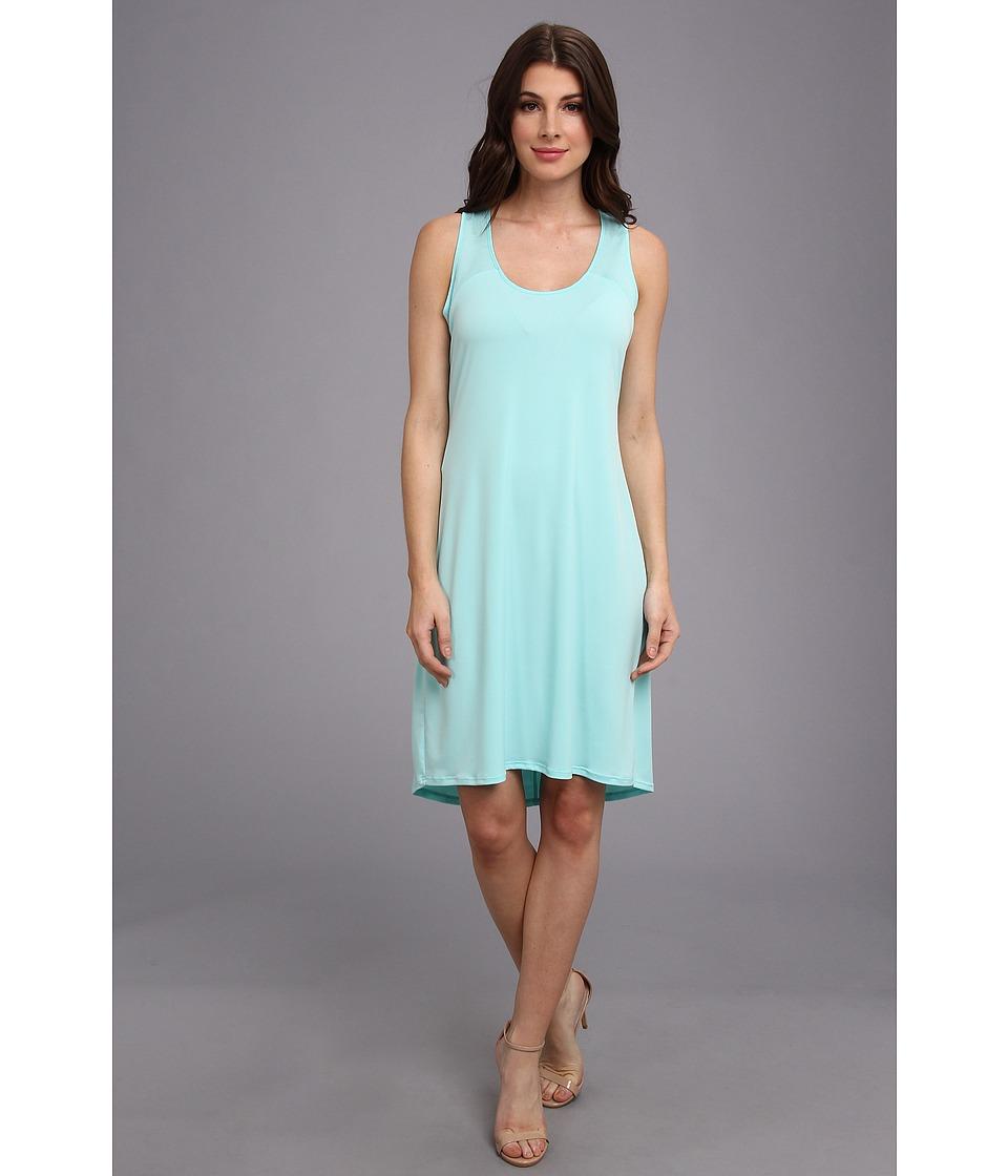 Calvin Klein S/L High-Low Shirt Matte Jersey Dress (Aqua) Women