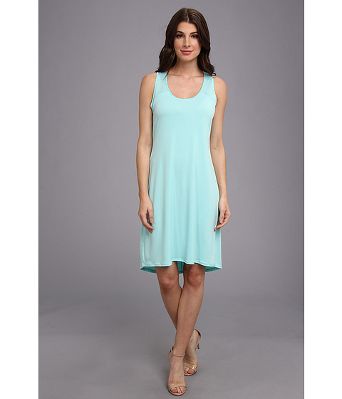 Calvin Klein - S/L High-Low Shirt Matte Jersey Dress (Aqua) Women