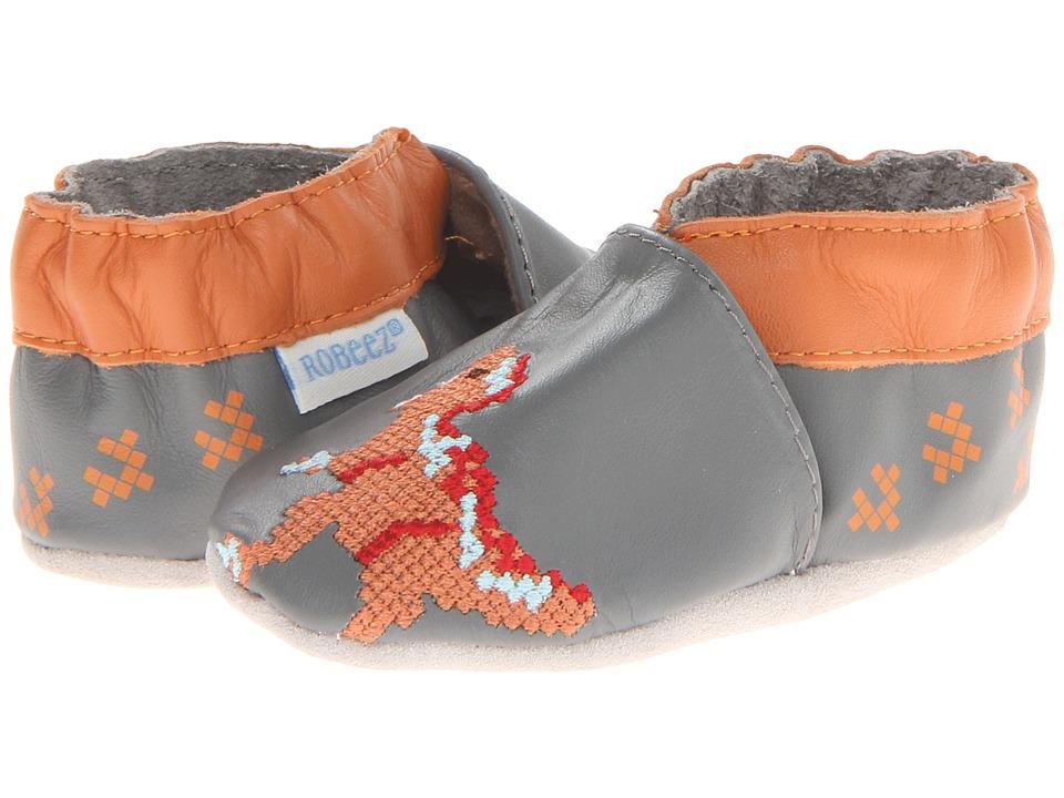 Robeez - Digi Dino (Infant/Toddler) (Grey) Boys Shoes