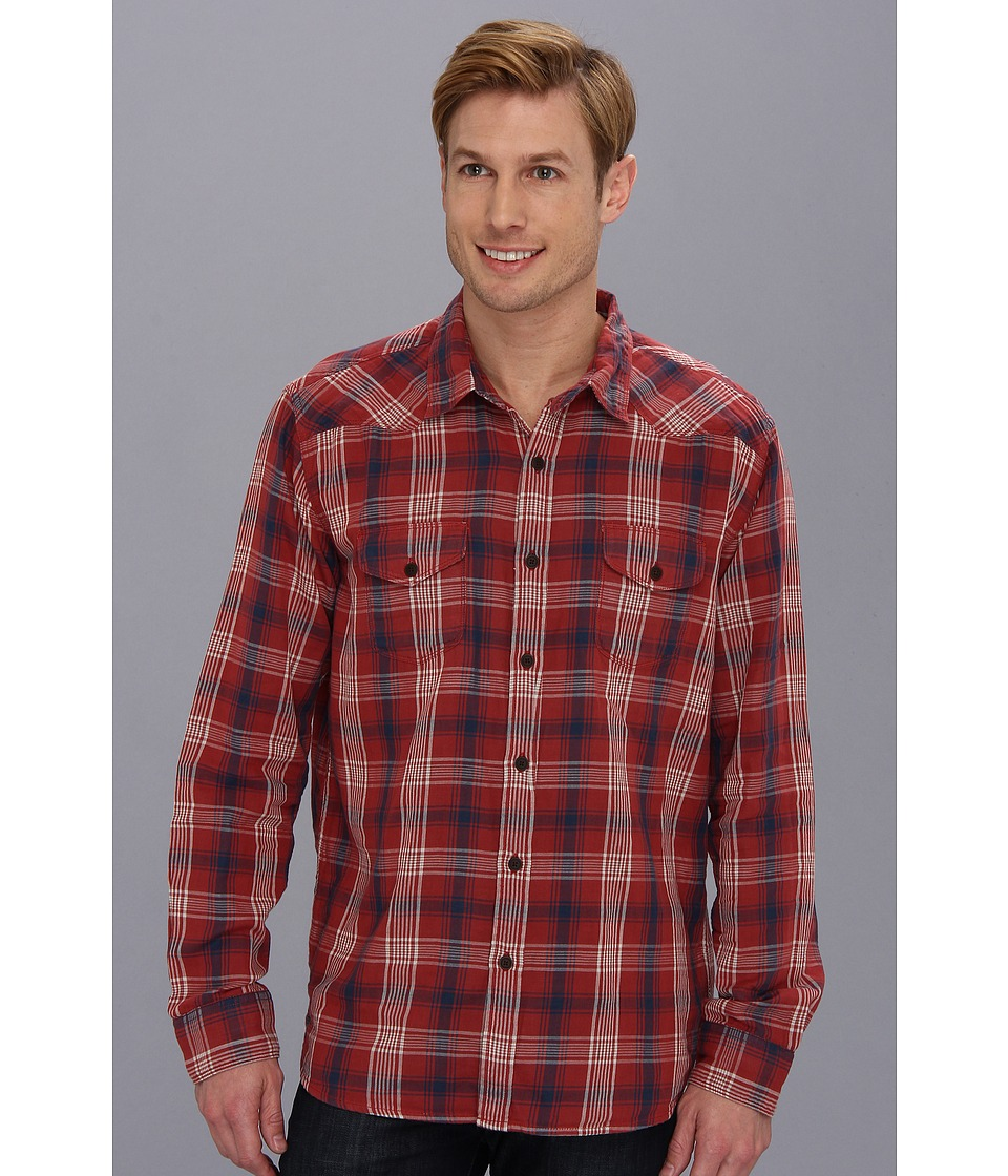Lucky Brand Trestles Plaid Western Mens Long Sleeve Button Up (Navy)