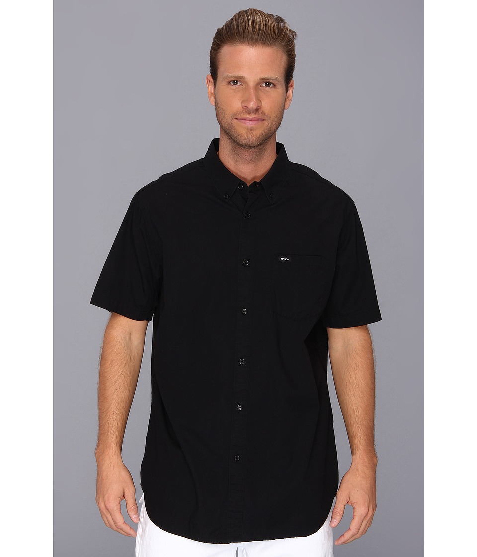 RVCA - Revival S/S Woven (Black) Men's Short Sleeve Button Up