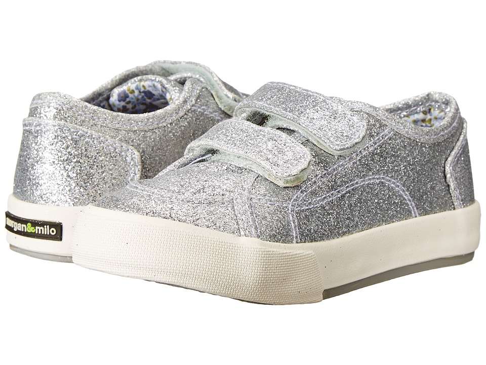 Morgan&Milo Kids - Lucy Double V Glitter (Toddler/Little Kid) (Silver) Girl's Shoes