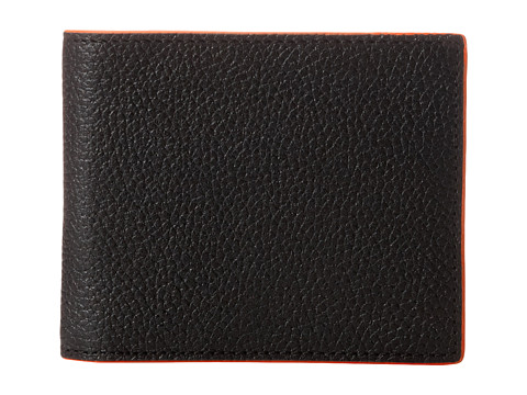 Jack Spade - Mason Leather Bill Holder (Black/Orange) Bill-fold Wallet