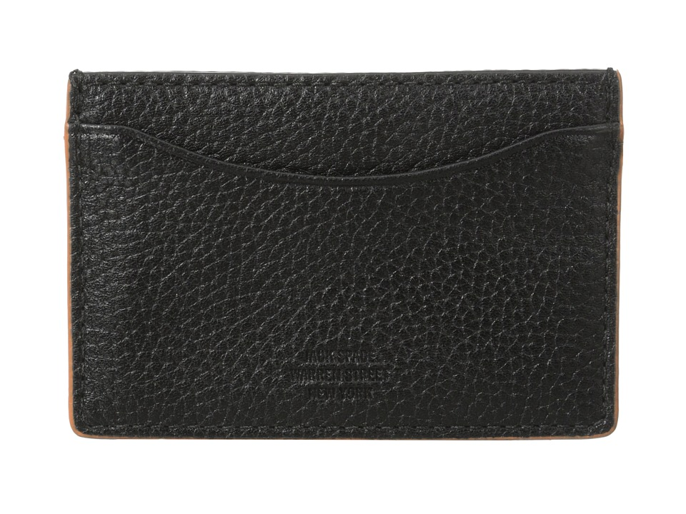 Jack Spade - Mason Leather Credit Card Holder (Black/Orange) Credit card Wallet