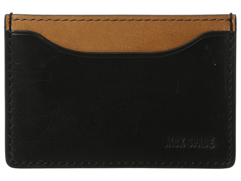 Jack Spade - Mitchell Leather Credit Card Holder (Black/Saddle) Credit card Wallet