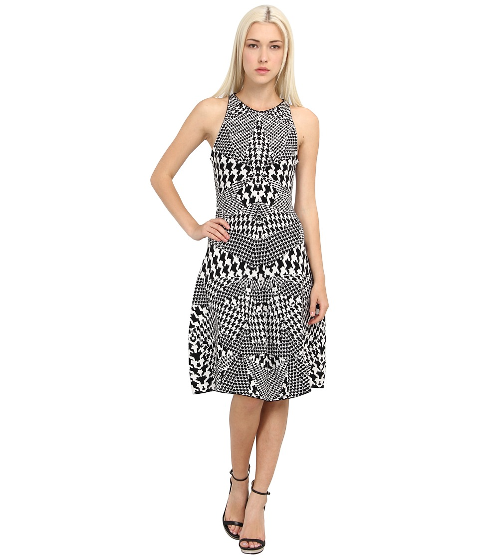 McQ - Houndstooth Jacquared Flirty Dress (Black/White) Women's Dress