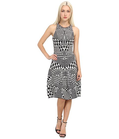 McQ - Houndstooth Jacquared Flirty Dress (Black/White) Women