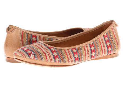 Trask - Piper (Red Navajo Fabric/Cream Washed Sheepskin) Women's Flat Shoes