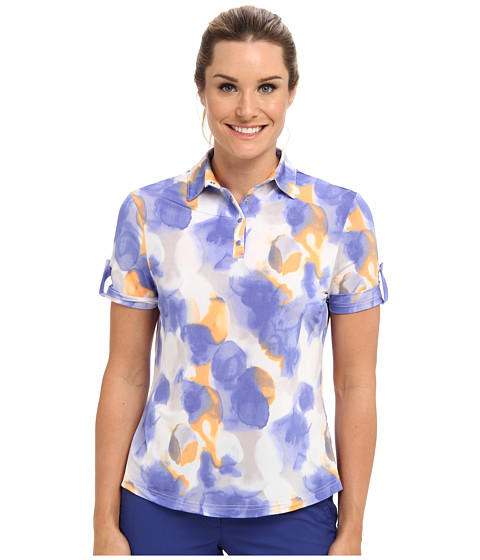 DKNY Golf - Floral Print S/S Top (Bahama Blue) Women's Short Sleeve Pullover
