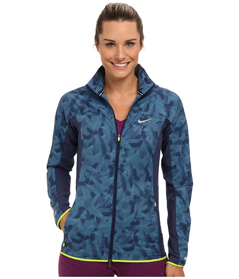 Nike - Printed Trail Kiger Jacket (Midnight Navy/Rift Blue/Fierce Green) Women