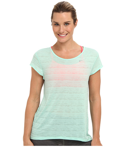Nike - Dri-Fit Touch Beeze Stripe S/S Top (Medium Mint/Reflective Silver) Women's Short Sleeve Pullover