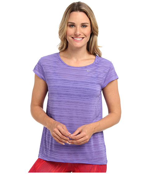 Nike - Dri-Fit Touch Beeze Stripe S/S Top (Purple Haze/Reflective Silver) Women's Short Sleeve Pullover