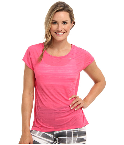 Nike - Dri-Fit Touch Beeze Stripe S/S Top (Dynamic Pink/Reflective Silver) Women's Short Sleeve Pullover