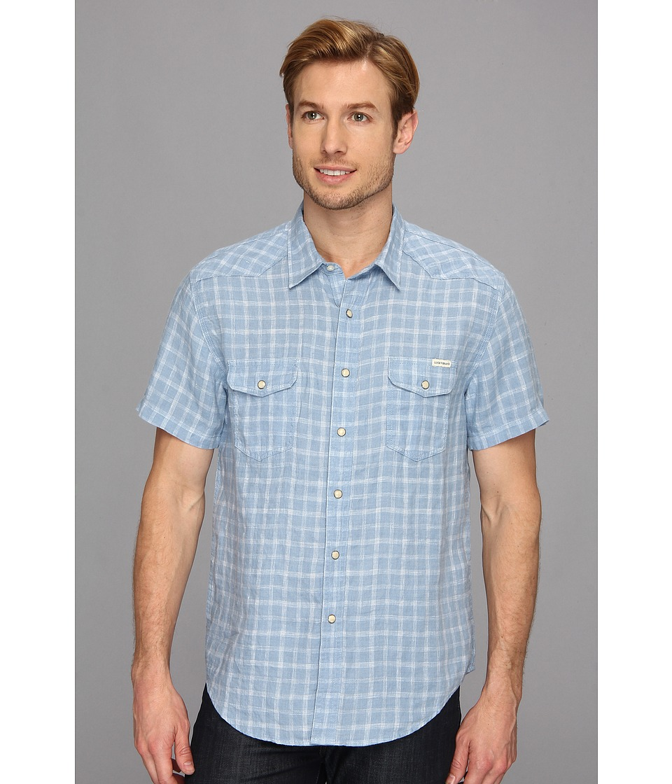 Lucky Brand Thin Stitch West Mens Short Sleeve Button Up (Blue)