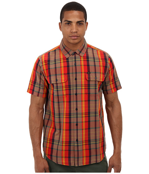 Obey - Stanton Woven (Red) Men's Short Sleeve Button Up
