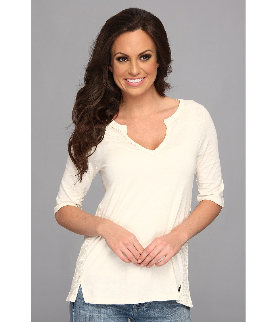 Lucky Brand Calistoga Crochet Top Womens Short Sleeve Pullover (White)