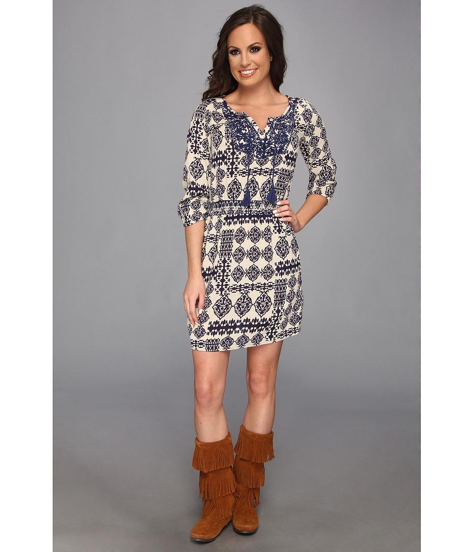 Lucky Brand Elbow Sleeve Dress w/ Ties Womens Dress (Blue)