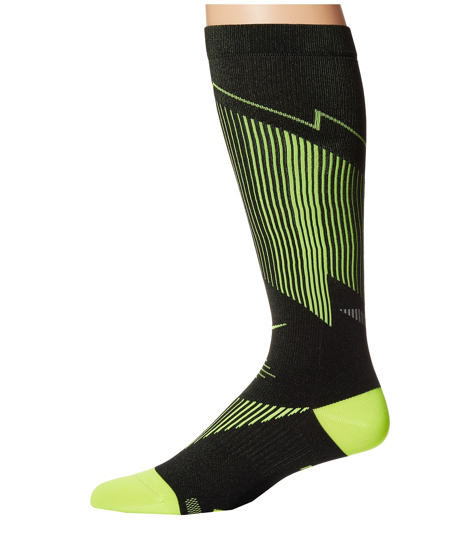 Nike - Elite Running Graduated (Black/Volt/Volt) Knee High Socks Shoes