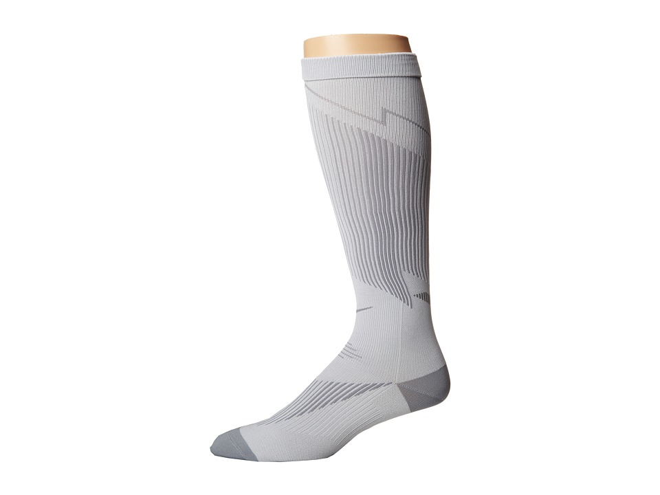 Nike - Elite Running Graduated (White/Black/Cyber) Knee High Socks Shoes