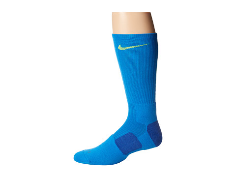 Nike - Nike Elite Basketball Crew 1-Pair Pack (Light Photo Blue/Volt/Volt) Crew Cut Socks Shoes