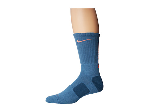 Nike - Nike Elite Basketball Crew 1-Pair Pack (Rift Blue/Bright Mango/Bright Mango) Crew Cut Socks Shoes