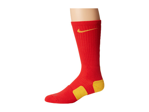 Nike - Nike Elite Basketball Crew 1-Pair Pack (Comet Red/Amarillo/Amarillo) Crew Cut Socks Shoes