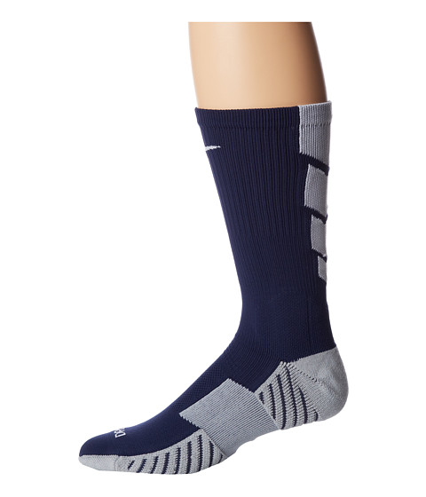 Nike - Stadium Soccer Crew (Midnight Navy/Wolf Grey/White/White) Crew Cut Socks Shoes