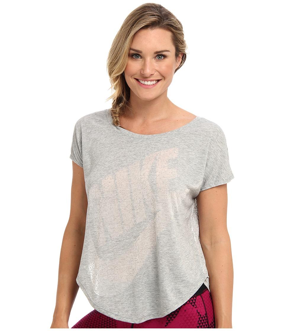 Nike - Signal Tee - Mezzo (Dark Grey Heather/White) Women's Short Sleeve Pullover