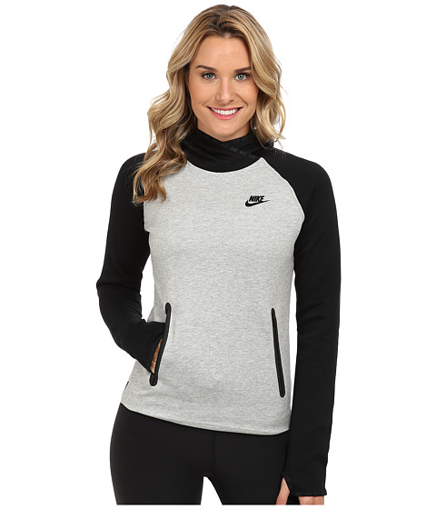 Nike - Tech Fleece Funnel (Black/Dark Grey Heather/Black) Women's Sweatshirt