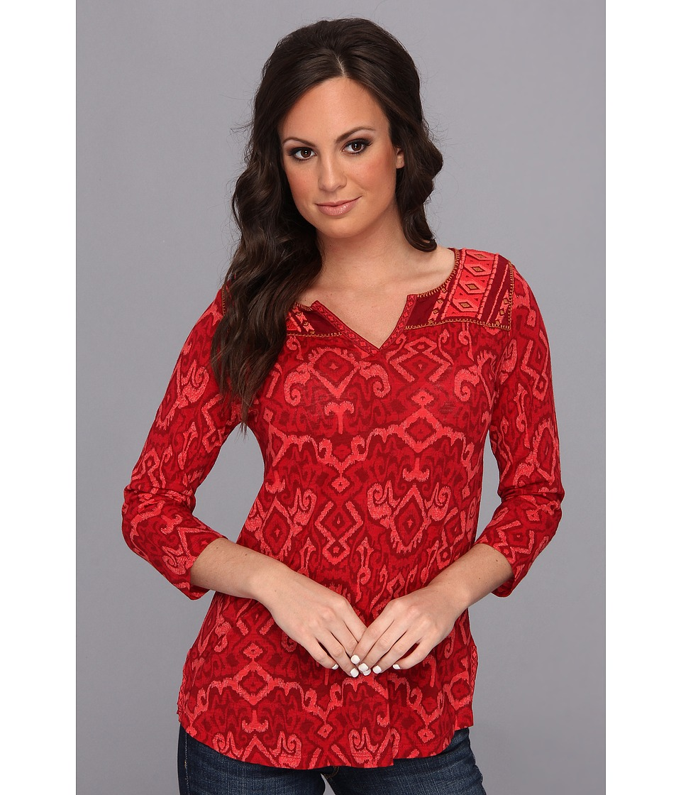 Lucky Brand Camarillo Ikat Top Womens Blouse (Red)