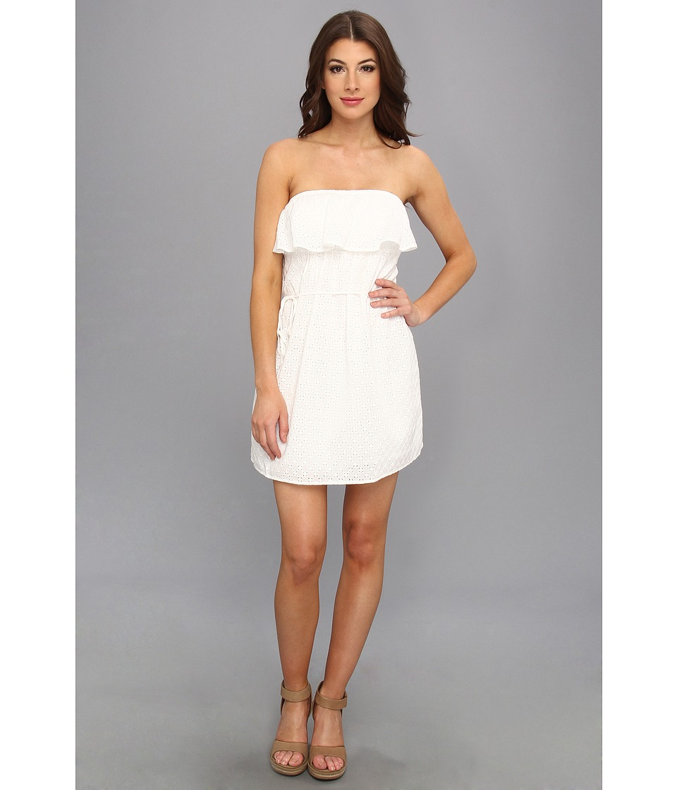 C&C California - Diamond Eyelet Dress (White) Women's Dress