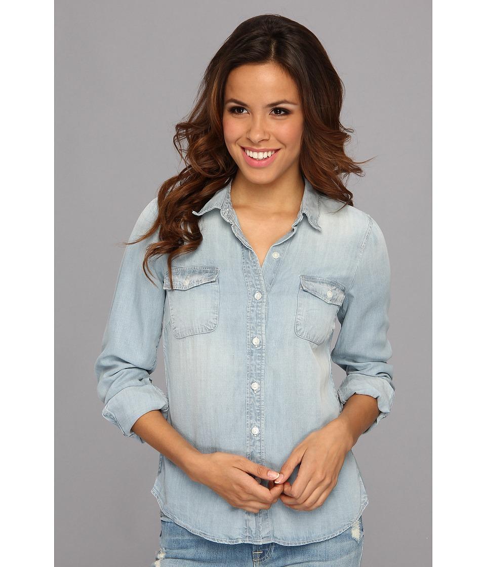 Lucky Brand Tencel Chambray Shirt Womens Long Sleeve Button Up (Blue)