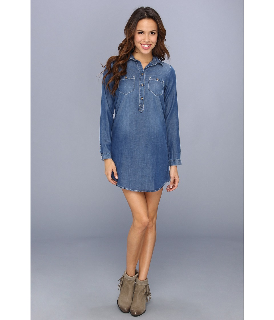 Lucky Brand Popover Chambray Dress Womens Dress (Blue)