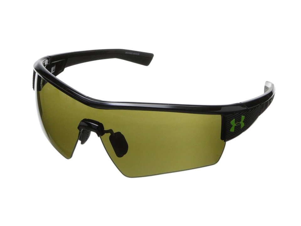 Under Armour - UA Fire (Shiny Black Frame w/ Black Rubber/Game Day Lens) Sport Sunglasses