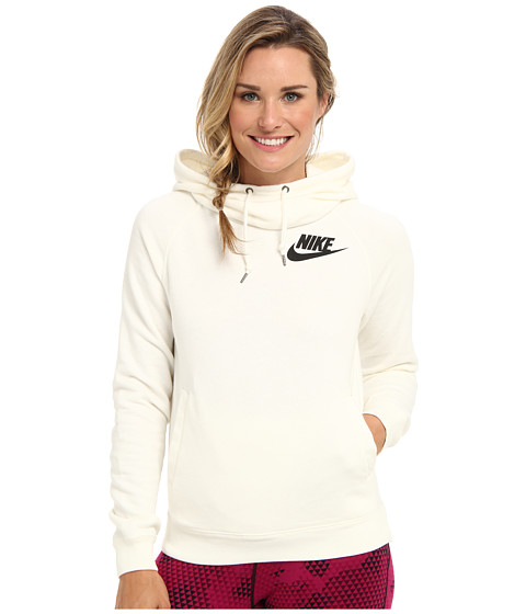 Nike - Rally Funnel Neck Hoodie (Sail/Black) Women