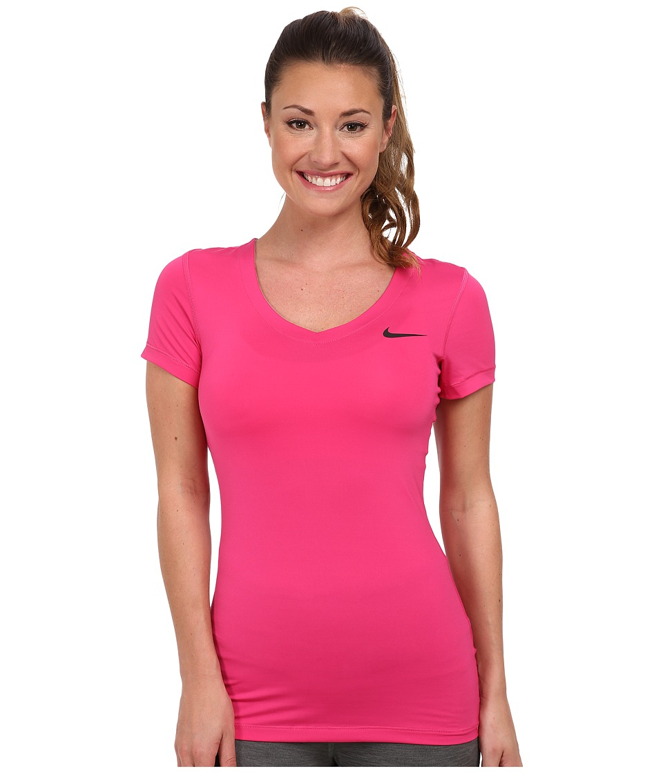 Nike - Pro S/S V-Neck Top (Vivid Pink/Black) Women