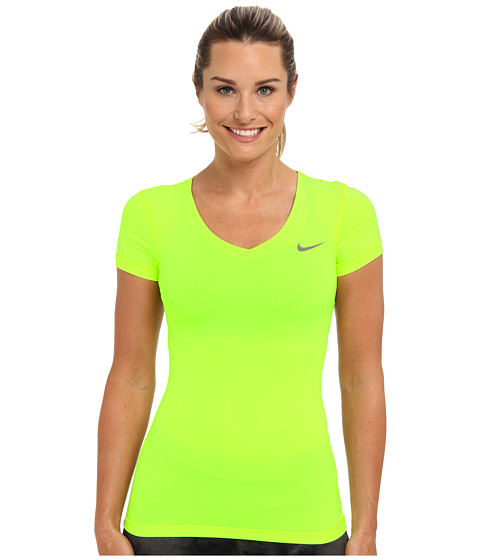 Nike - Pro S/S V-Neck Top (Volt/Light Ash) Women